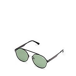 Quay Australia - Black 'Camden Heights' brow-bar oversized round sunglasses