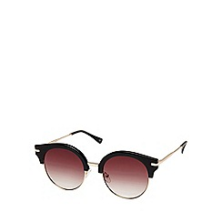 Seafolly - Black cat eye sunglasses with mirror lenses