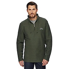 Weird Fish - Big and tall green macaroni textured zip neck sweatshirt