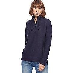 Weird Fish - Navy knitted zip funnel neck sweater