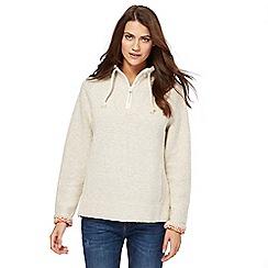 Weird Fish - Cream knitted zip funnel neck sweater
