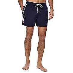 Tommy Hilfiger - Navy logo print swim shorts