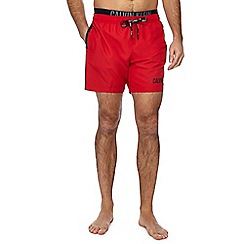 Calvin Klein - Red double waistband swim shorts