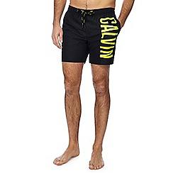 Calvin Klein - Black logo print swim shorts