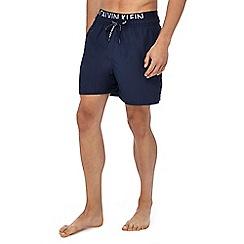 Calvin Klein - Navy double waistband swim shorts
