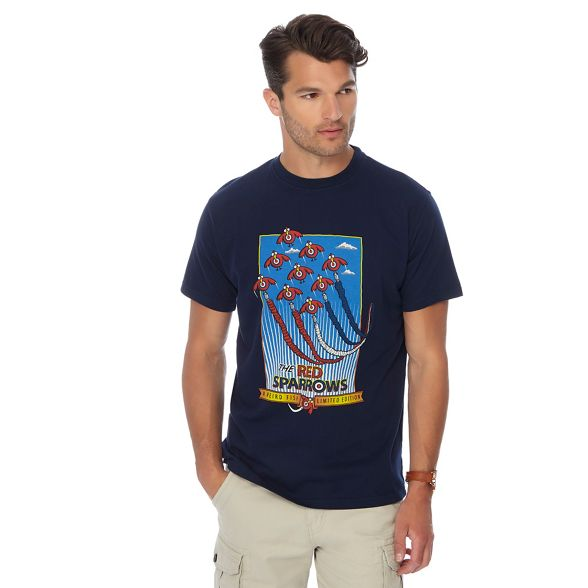 Big print red navy Fish tall sparrow shirt Weird t and n05qRfpnw