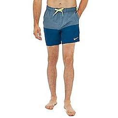 Nike - Grey colour block swim shorts