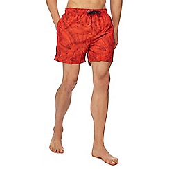 Red Herring - Orange banana leaf print swim shorts