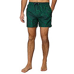 Red Herring - Green banana leaf print swim shorts