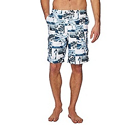 Mantaray - Blue photographic print swim shorts