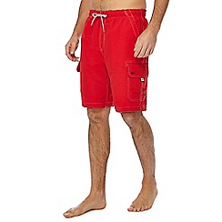 Mantaray - Big and tall dark red cargo swim shorts