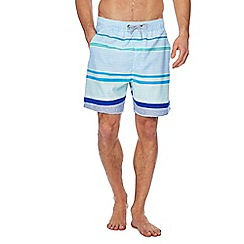 Mantaray - Turquoise stripe print swim shorts