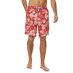 Mantaray - Big and tall red hibiscus print swim shorts