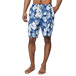 Mantaray - Turquoise hibiscus print swim shorts