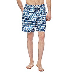 Mantaray - White and blue beach hut print swim shorts