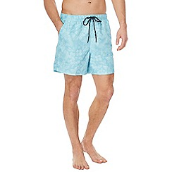 Maine New England - Big and tall light blue floral print swim shorts