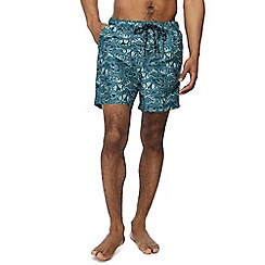 Maine New England - Big and tall green fish print swim shorts