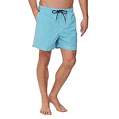 Maine New England - Big and tall turquoise striped swim shorts