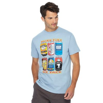 weird fish big and tall blue six pack of beer printed t-shirt