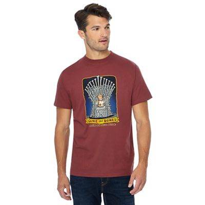 weird fish red 'game of bones' print t-shirt