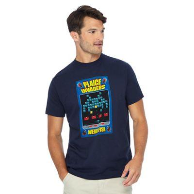 weird fish big and tall navy 'plaice invaders' print t-shirt