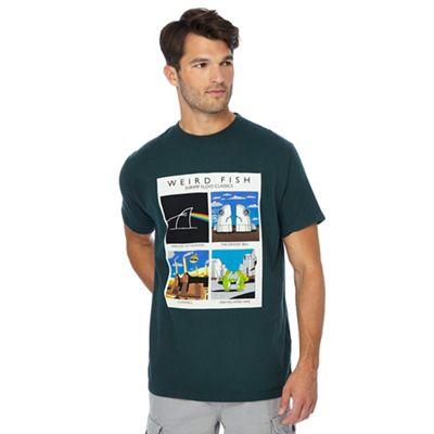 weird fish big and tall green 'shrimp floyd classics' printed t-shirt