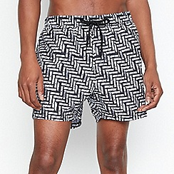 Red Herring - Big and Tall Black Printed Swim Shorts