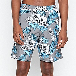 Red Herring - Big and Tall Grey Floral Skull Swim Shorts
