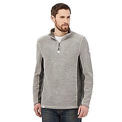 Weird Fish - Grey panelled zip neck sweatshirt