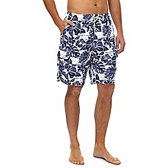 Mantaray - Navy floral print swim shorts