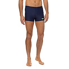 Speedo - Navy logo print swim shorts