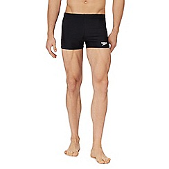 Speedo - Black and white logo print swim shorts