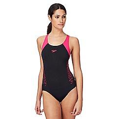 Speedo - Black and pink logo swimsuit