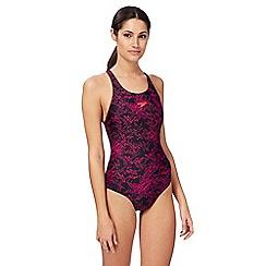 Speedo - Pink logo print swimsuit