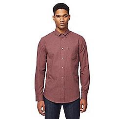 Ben Sherman - Maroon micro dogtooth print shirt
