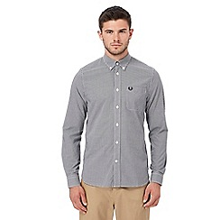 Fred Perry - Black gingham print embroidered logo shirt