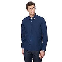 Jacamo - Navy gingham trim shirt
