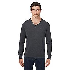 Ben Sherman - Dark grey tipped V neck jumper