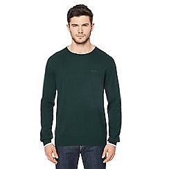 Ben Sherman - Big and tall green tipped crew neck jumper