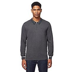 Ben Sherman - Big and tall dark grey knitted long sleeved polo shirt