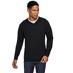 Jacamo - Big and tall black v-neck jumper