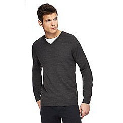 Jacamo - Big and tall dark grey v-neck jumper