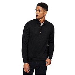 Jacamo - Big and tall black funnel neck jumper