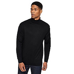 Jacamo - Big and tall black roll neck jumper