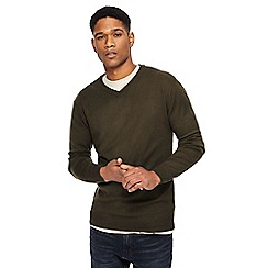 Jacamo - Big and tall khaki v-neck jumper