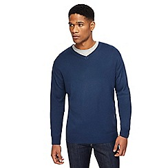 Jacamo - Big and tall blue v-neck jumper