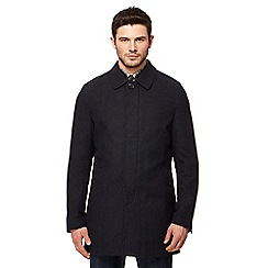 Ben Sherman - Dark grey checked coat with wool