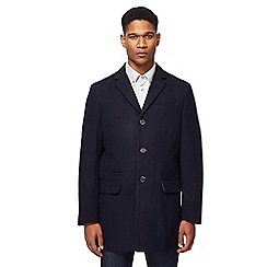 Ben Sherman - Navy single-breasted wool-blend Epsom coat
