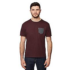 Ben Sherman - Big and tall maroon arrow print chest pocket t-shirt