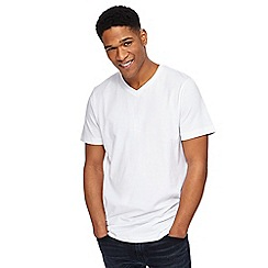 Jacamo - Big and tall white v-neck long length t-shirt